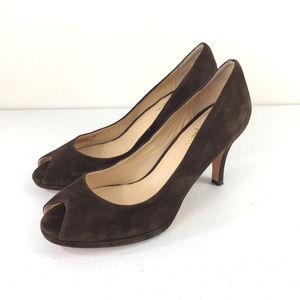 Cole Haan 7.5 Brown Suede Peep Toe Heels Pumps